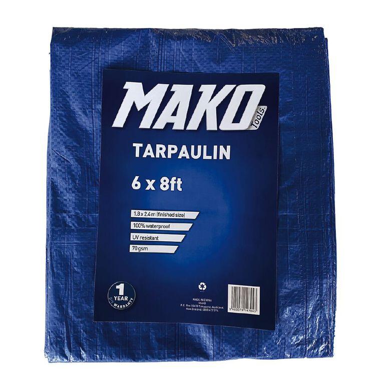 Mako Tarpaulin 70gsm 6ft x 8ft Blue, , hi-res
