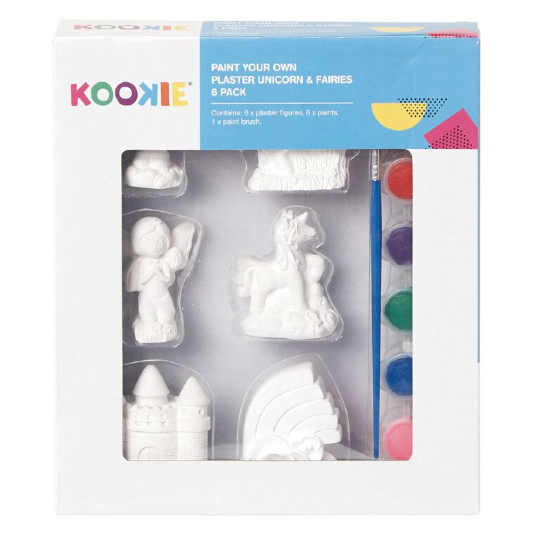 Kookie Paint Your Own Plaster Unicorns and Fairies 6 Pack, , hi-res