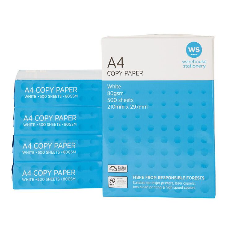WS Photocopy Paper 80gsm 500 Pack White A4, , hi-res
