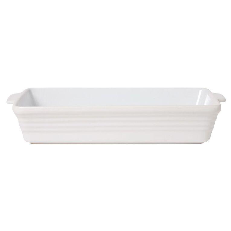 Living & Co Ceramic Rectangle Baker White 40cm x 25cm x 7cm, , hi-res
