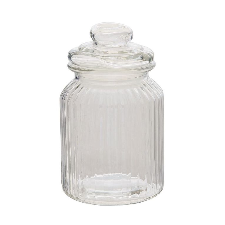 Living & Co Ridge Glass Jar Clear 1L, , hi-res