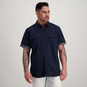 H&H Men's Short Sleeve Dobby Print Shirt