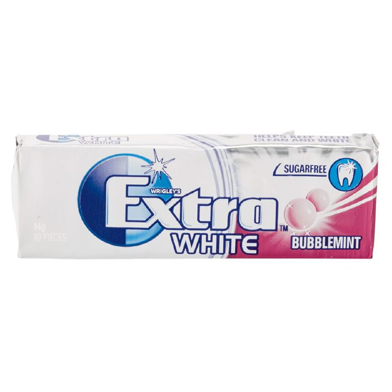 Extra White Bubblemint Chewing Gum Sugar Free 10 Piece 14g, , hi-res