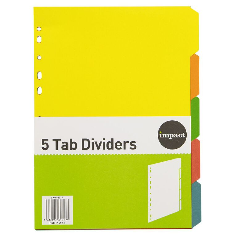 WS Dividers Cardboard 5 Tab A4, , hi-res