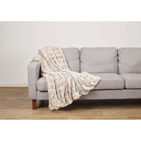 Living & Co Luxury Faux Fur Animal Throw Ivory White 127cm x 152cm