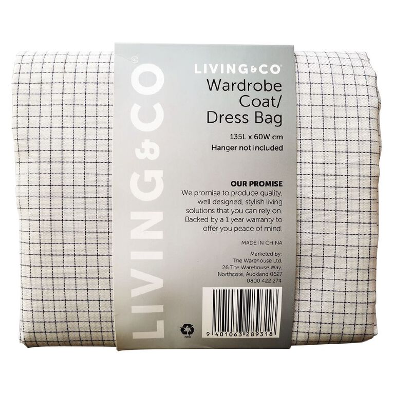 Living & Co Wardrobe Coat/Dress Bag White, , hi-res
