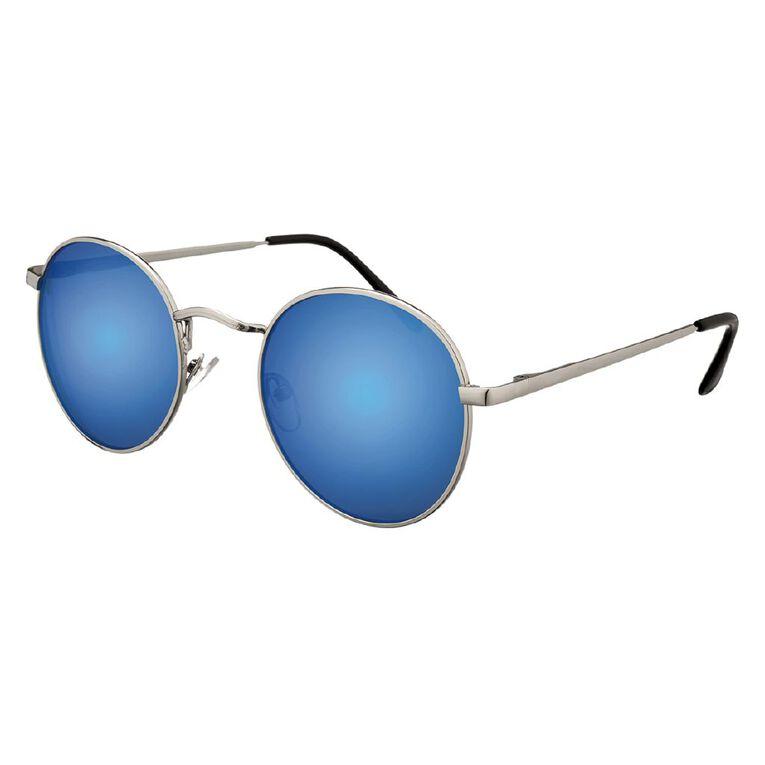 H&H Essentials Circle Metal Blue Mirror Sunglassers, Blue, hi-res