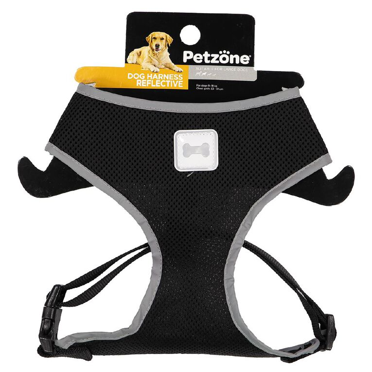 Petzone Reflective Mesh Harness Black Large, , hi-res