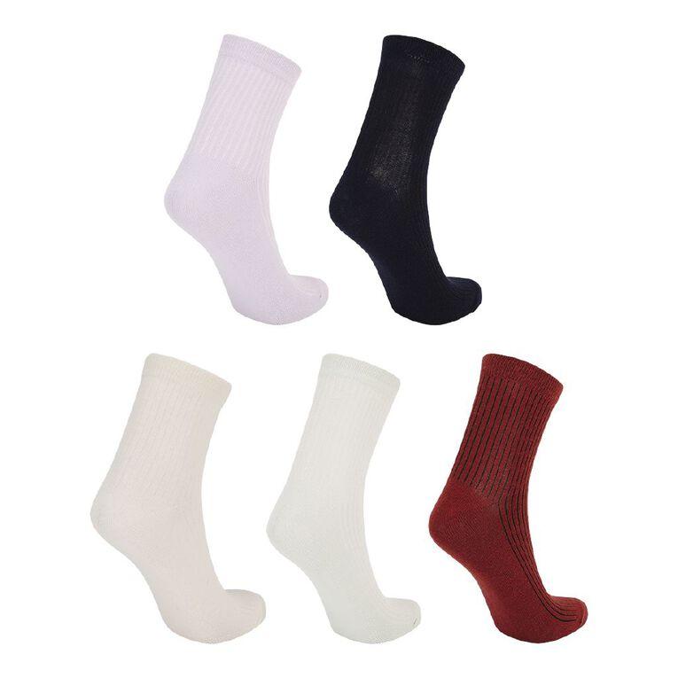 H&H Women's Patterned Ankle Crew Socks 5 Pack, Green Light, hi-res