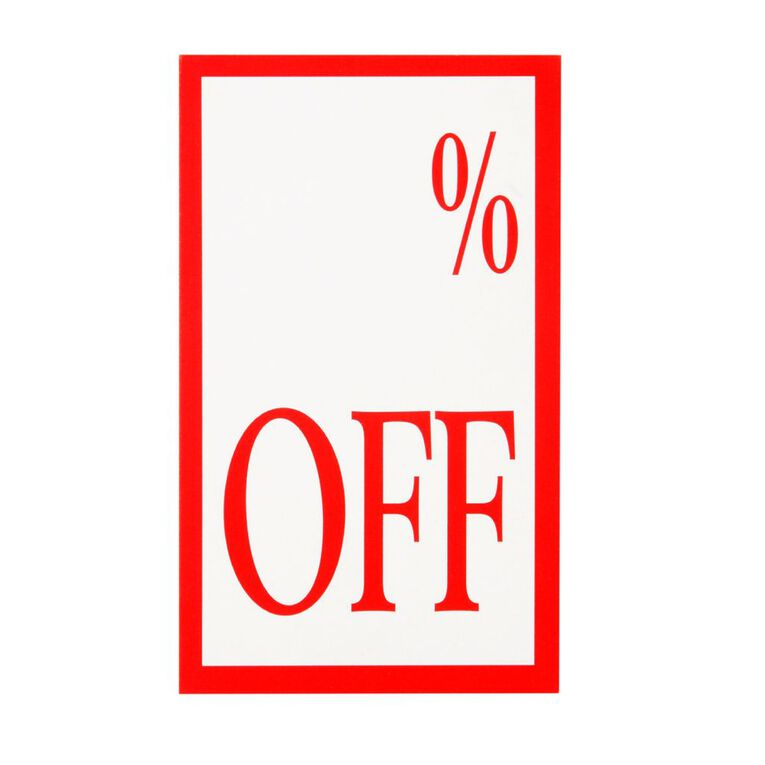 Quik Stik Labels Display Tickets % Off 10 Pack Red/White, , hi-res