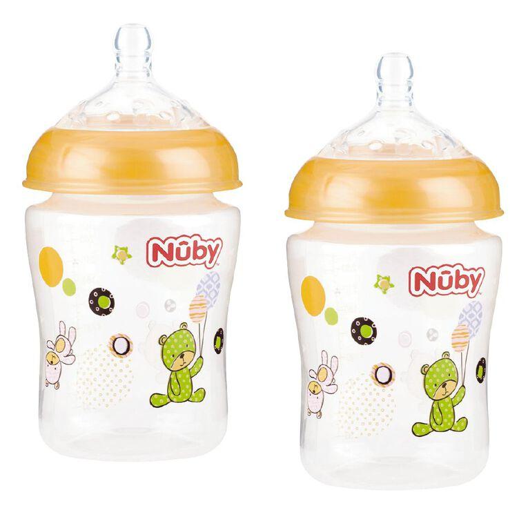 Nuby Wide Neck Bottle 270ml Assorted 2 Pack, , hi-res