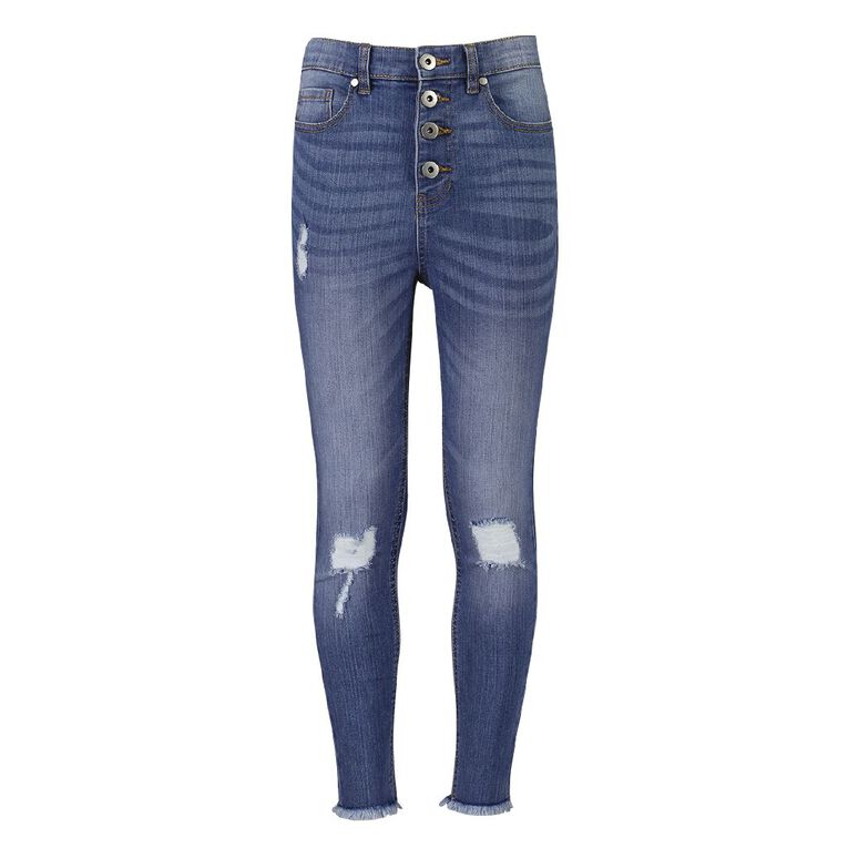 Young Original Girls' HW Distressed Jeans, Blue Mid, hi-res image number null