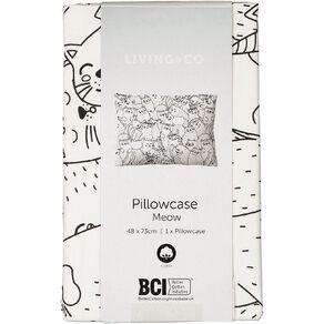 Living & Co Pillowcase Cotton 180 Thread Count Meow Black/White
