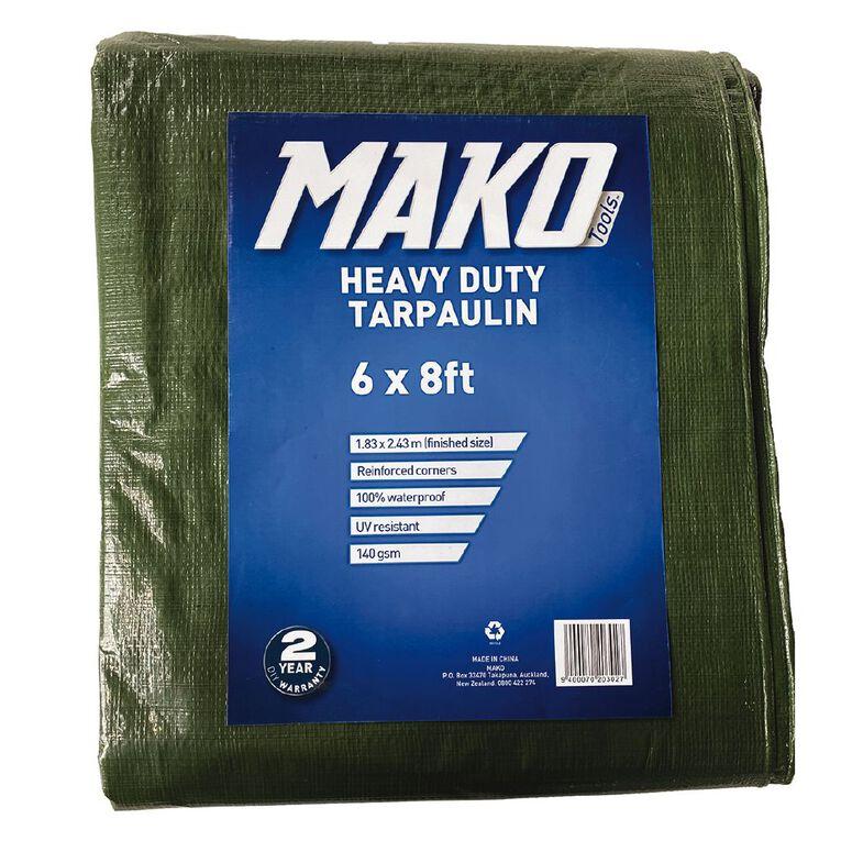 Mako Tarpaulin 140gsm 6ft x 8ft Green, , hi-res