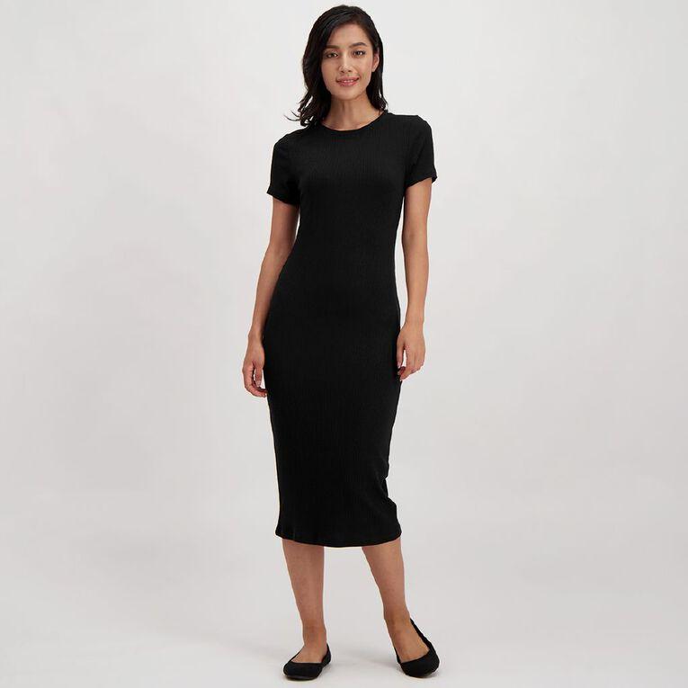 H&H Women's Rib Midi Dress, Black, hi-res