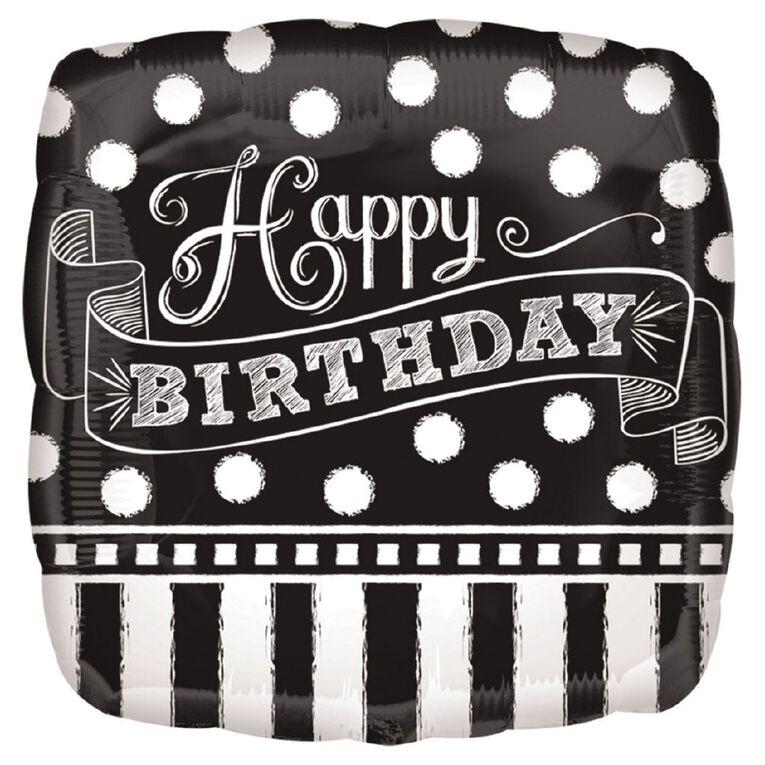 Anagram Black & White Chalkboard Birthday Foil Balloon Standard 17in, , hi-res