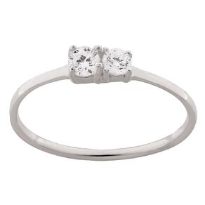 Sterling Silver CZ 2 Stone Ring