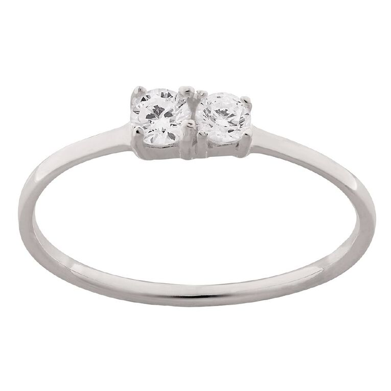 Sterling Silver CZ 2 Stone Ring, Sterling Silver, hi-res image number null