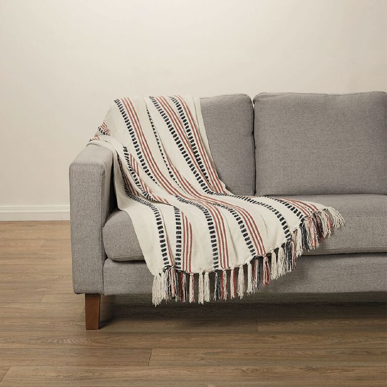 Living & Co Chenille Stripe Throw Tandori Spice Red 127cm x 152cm, Red, hi-res image number null