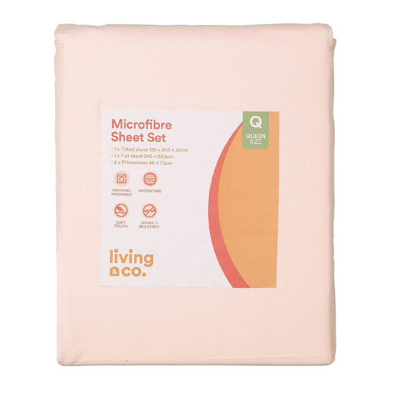 Living & Co Sheet Set Microfibre Pink Double, Pink, hi-res