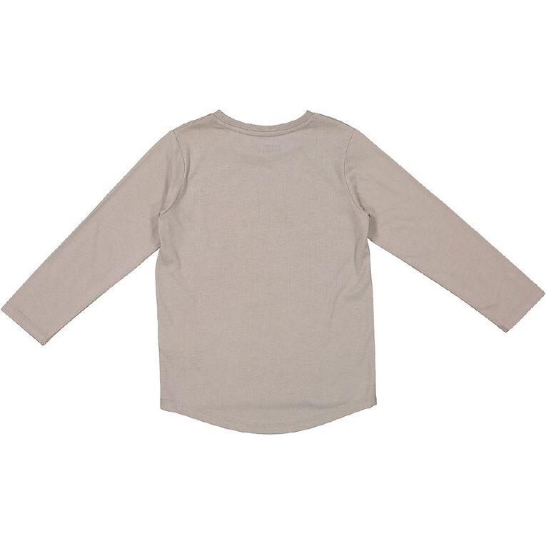 Young Original Long Sleeve Scoop Hem Tee, Beige, hi-res