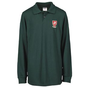 Schooltex Rangitikei College Long Sleeve Polo with Embroidery