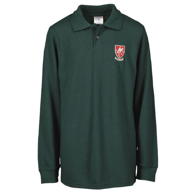 Schooltex Rangitikei College Long Sleeve Polo with Embroidery, Bottle Green, hi-res