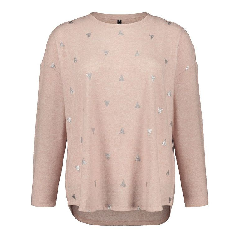 H&H Plus Women's Brushed Knit Print Top, Pink Light, hi-res
