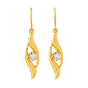 9ct Gold CZ Flame Drop Earrings