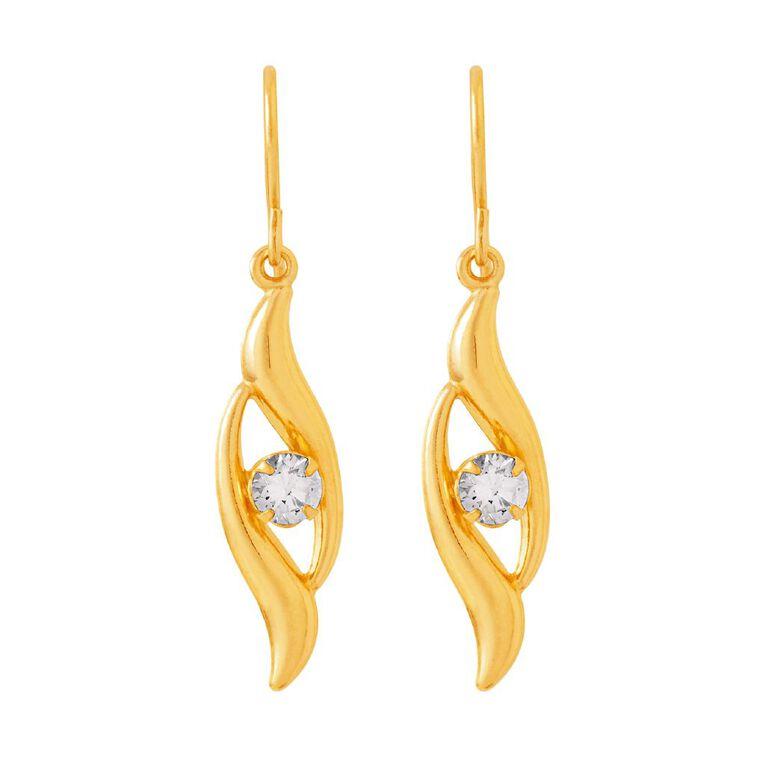 9ct Gold CZ Flame Drop Earrings, , hi-res