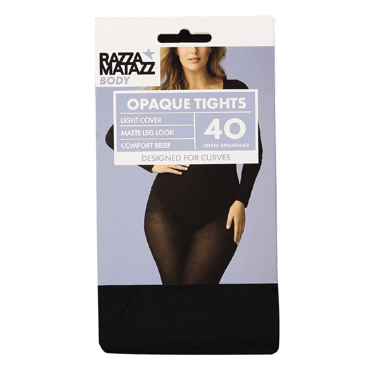 RazzaBody Women's Body Opaque Tights, Black, hi-res
