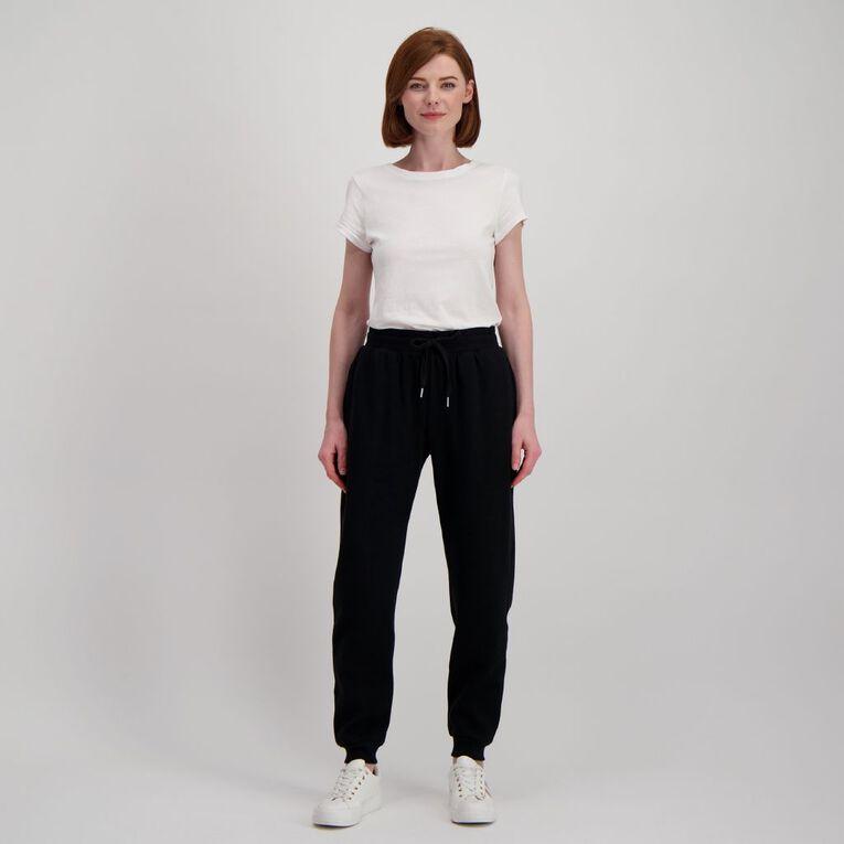 H&H Women's Cuffed Trackpants, Black, hi-res