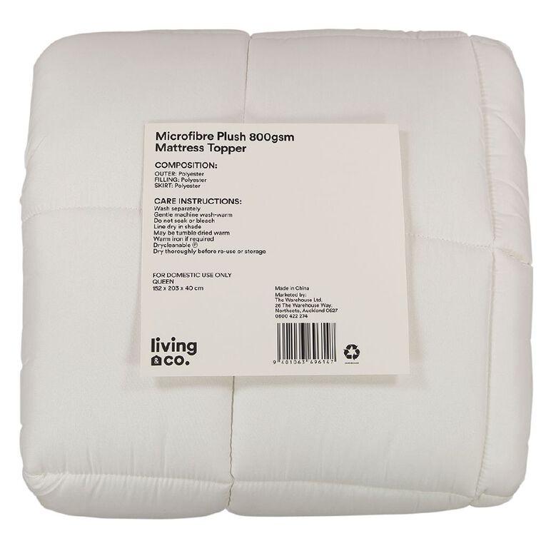 Living & Co Mattress Topper Plush Microfibre 800gsm White King, White, hi-res