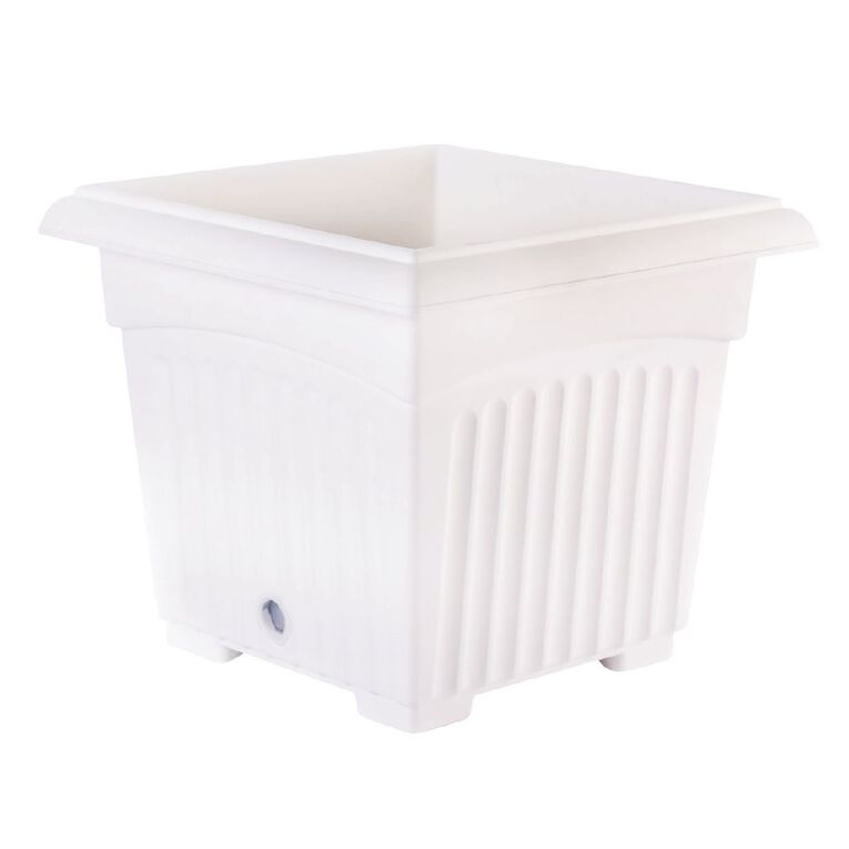Baba Plastic Square Pot 200 White 20cm, , hi-res