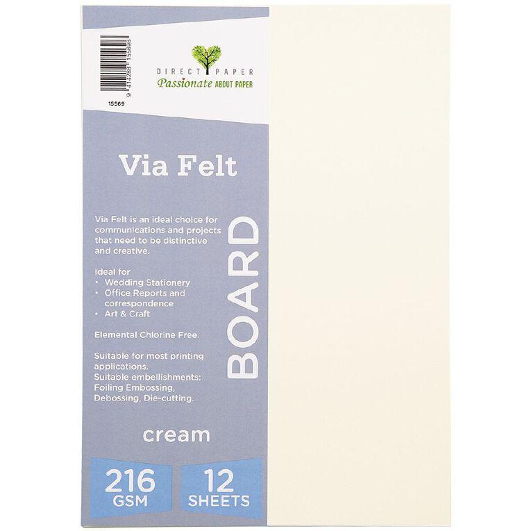 Direct Paper Via Felt 216gsm 12 Pack Cream A4, , hi-res