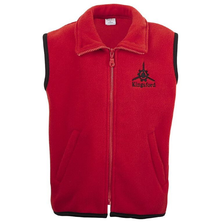 Schooltex Kingsford School Polar Fleece Vest with Embroidery, Red, hi-res