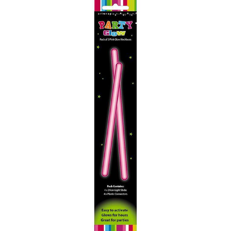 Artwrap Glow Necklace 48cm Pink 2 Pack, , hi-res
