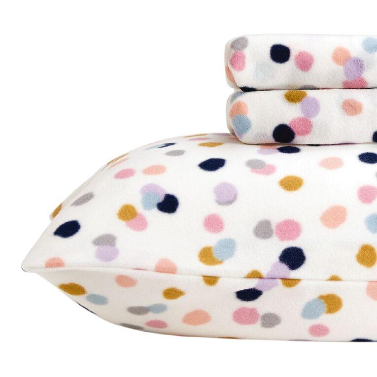 Living & Co Kids Sheet Set Polar Flannel Confetti Pink Single, Pink, hi-res