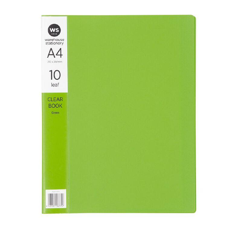 WS Clear Book 10 Leaf Green A4, , hi-res