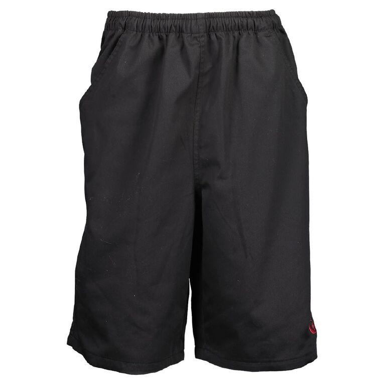 Schooltex William Collenso College Drill Rugger Shorts with Embroidery, Black, hi-res