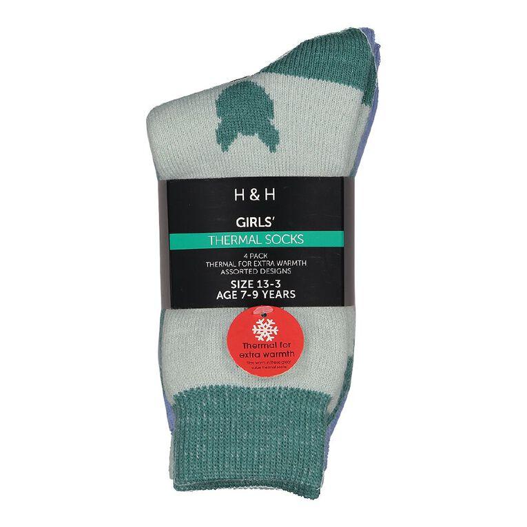 H&H Girls' Home Socks 4 Pack, Green Light, hi-res image number null