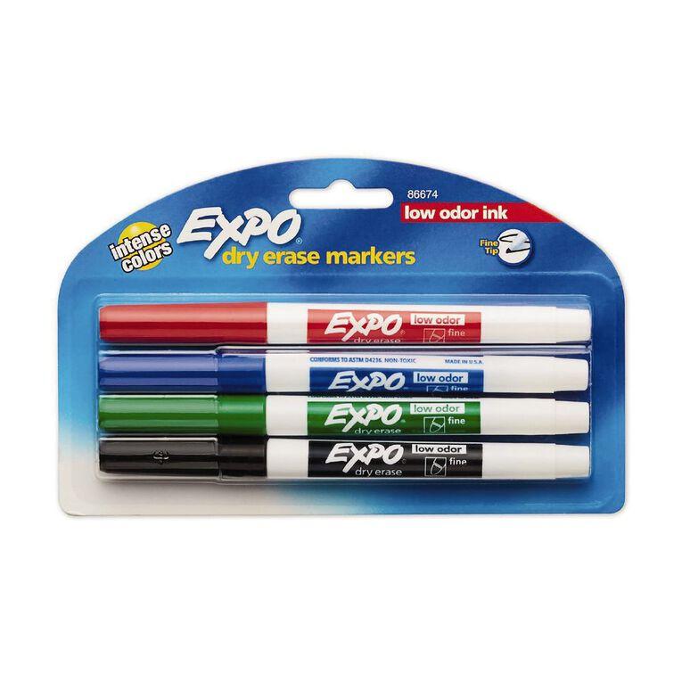 Expo Whiteboard Marker Fine Tip Assortment Multi-Coloured 4 Pack, , hi-res