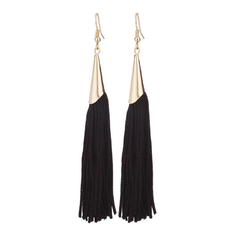 Basics Brand Tassel Earrings, Gold, hi-res
