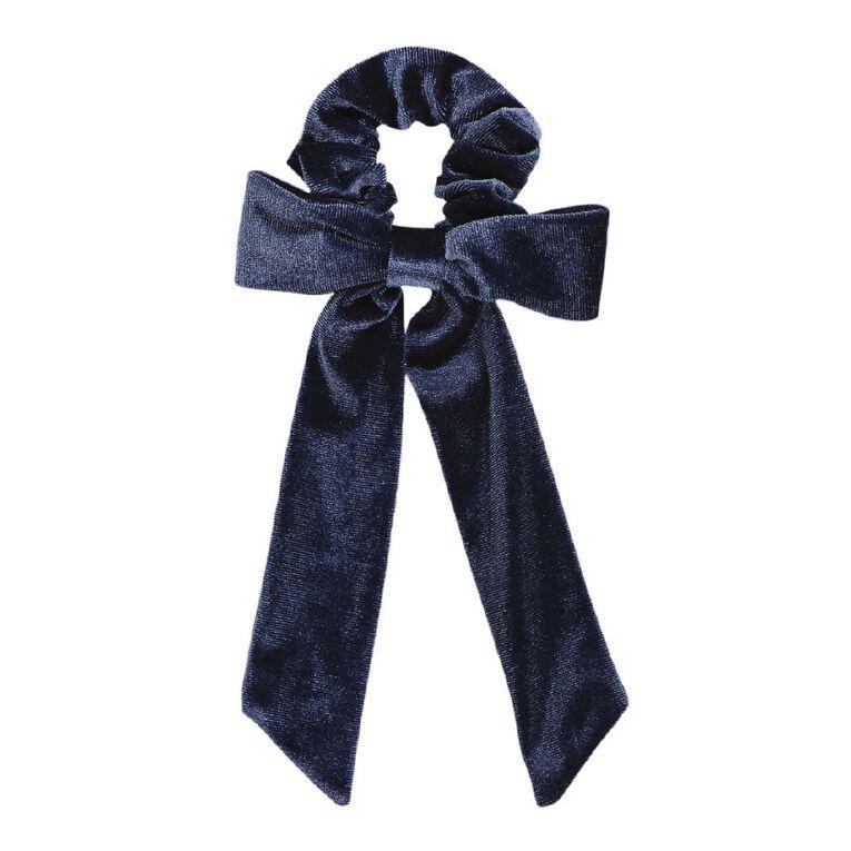 Dark Romance Blue Velvet Scruchie With Bow, , hi-res