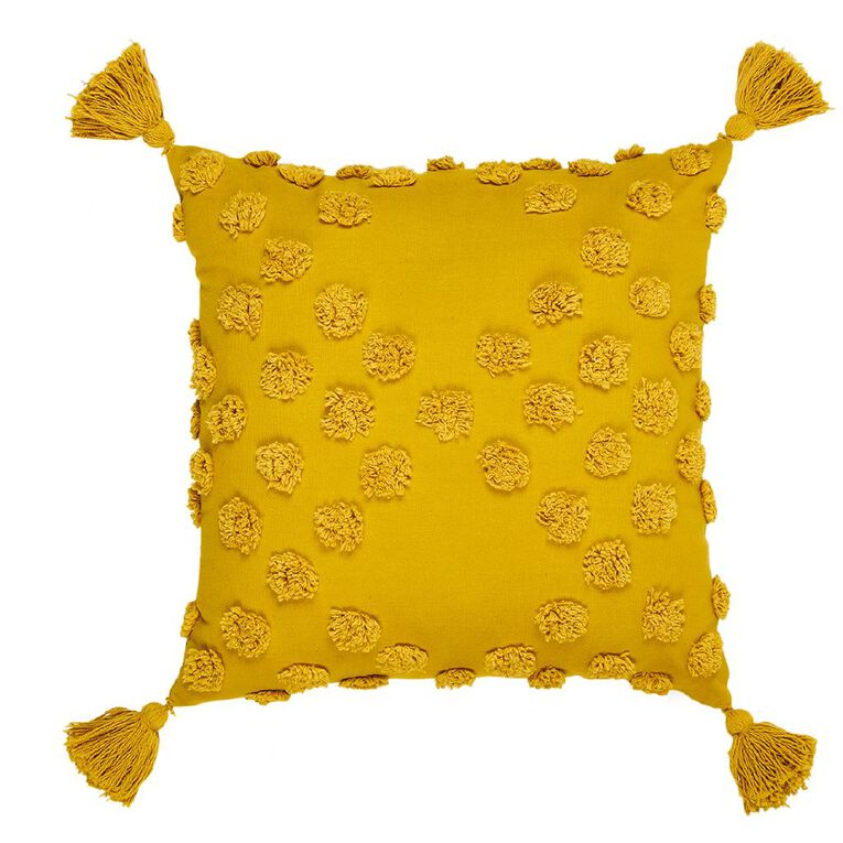 Living & Co Tufted Spot Cushion with Tassels Yellow Gold 45cm x 45cm, Yellow Gold, hi-res