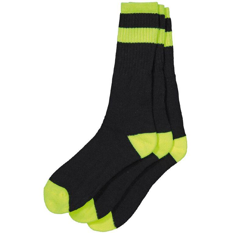 Rivet Men's Fluoro Work Socks 3 Pack, Yellow, hi-res
