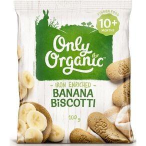 Only Organic Banana Biscotti 100g