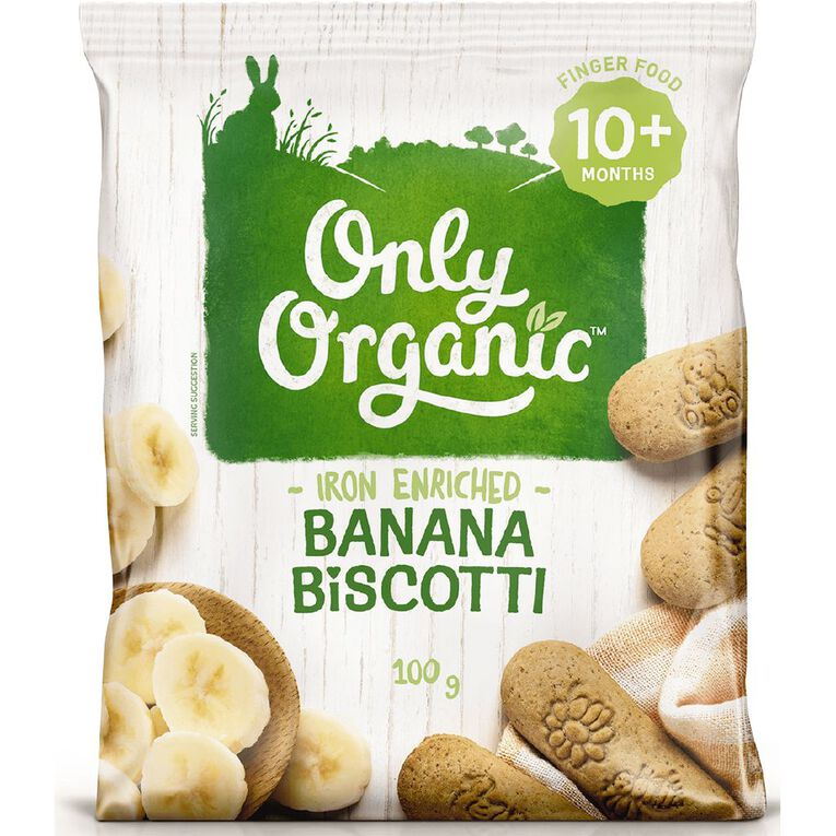 Only Organic Banana Biscotti 100g, , hi-res