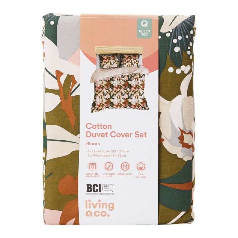 Living & Co Duvet Cover Set Cotton Print Olive Bloom Green Queen, Green, hi-res