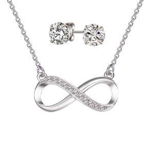 Mestige Silver Plated Swarovski Crystal Infinity Necklace & Earrings Set